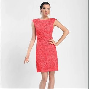 Sue Wong Bateau Ribbon Embroidered Cocktail Dress